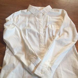Lee white button down stretch blouse size XL